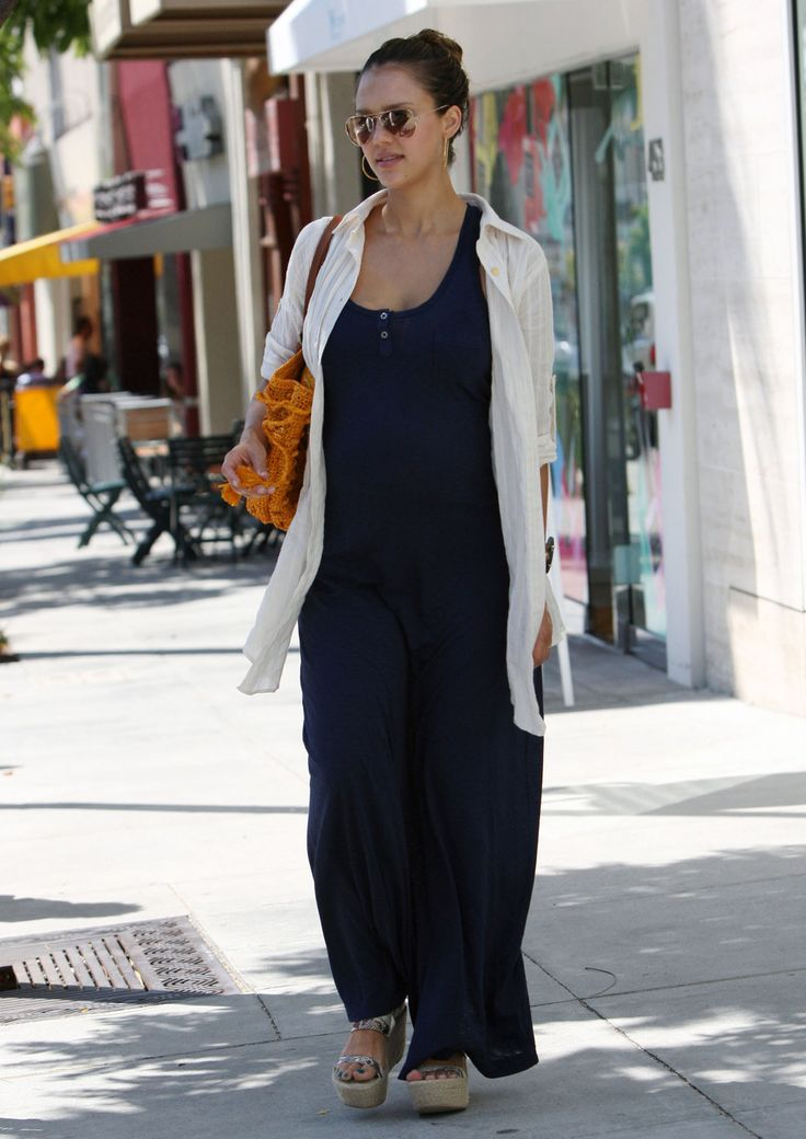 pregnant Jessica Alba navy maxi dress white cardigan