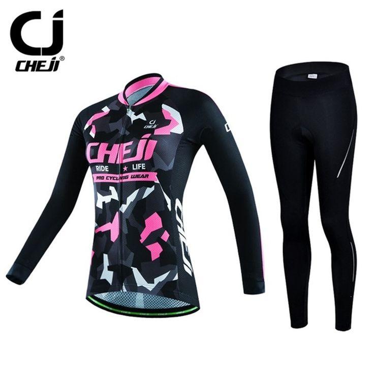 47.98$  Watch here - http://ali7ez.worldwells.pw/go.php?t=32750370425 - Cheji Winter Long Sleeve Cycling Jersey Set Warm Bicycle Cycling Clothing Mountain Bike Jersey Sportswear Ropa invierno Ciclismo