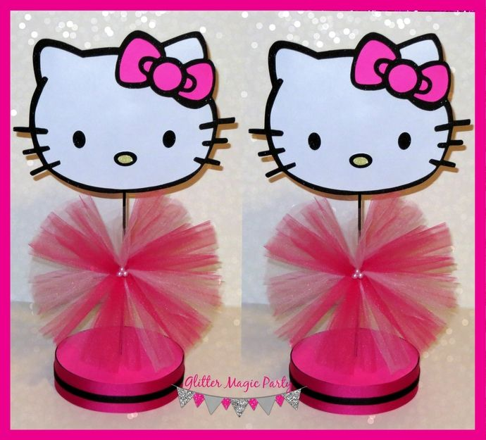 Hello Kitty Centerpieces - Hello Kitty Inspired Party - Hello Kitty Decoration - Hello Kitty Party - Pink Hello Kitty - SET OF 2 by GlitterMagicParty, $25.99 USD