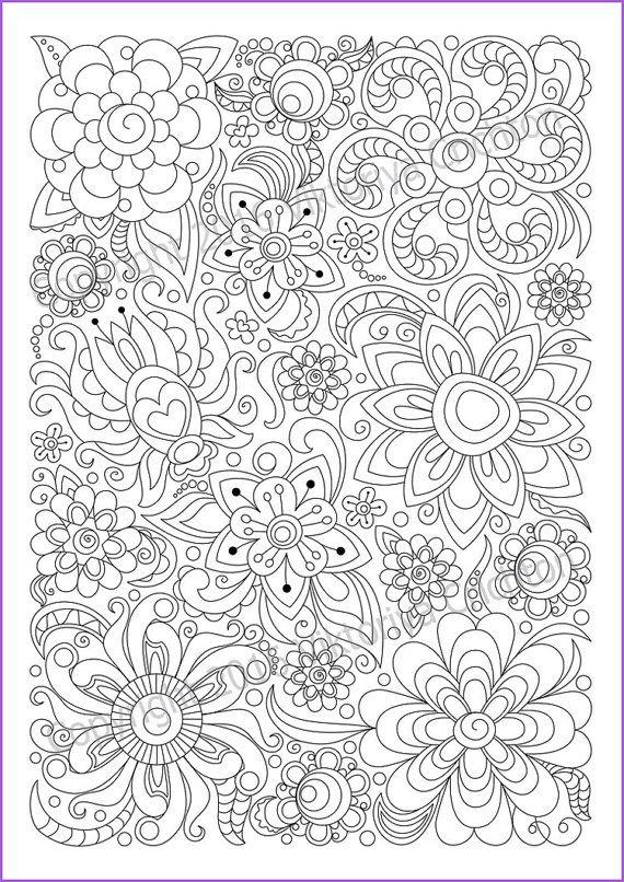 Soloring Page Doodle Flowers Printable Zen Doodle Pdf Etsy Abstract Coloring Pages Coloring Pages Mandala Coloring Pages