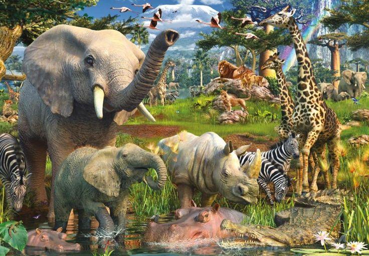 Puzzle RAVENSBURGER 18000 dílků - D.Penfound, Zvířata u zdroje vody