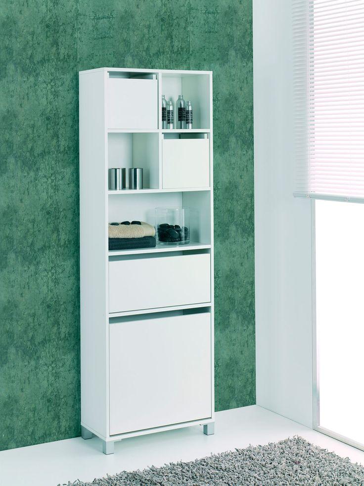 Columna mueble ba o en blanco barato oferta muebles de for Mueble columna bano
