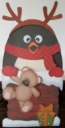3D On the Shelf Card Kit - Christmas Pip Penguin is helping Santa take the…