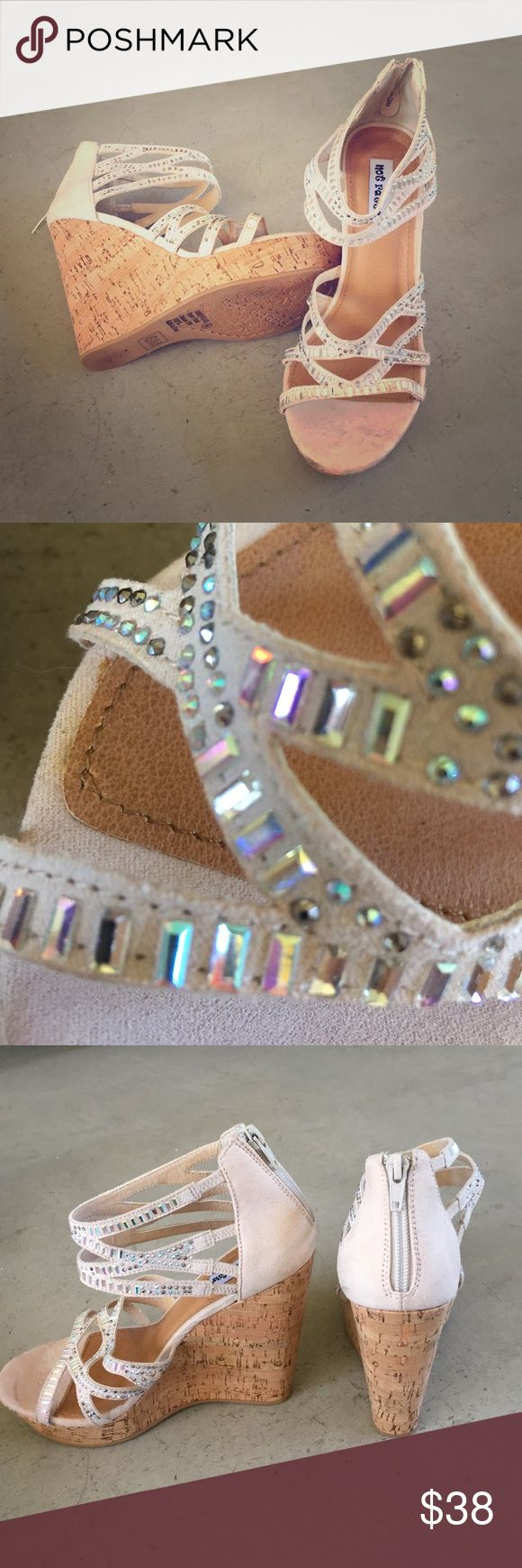 """Not Rated Wedges Never worn, adorable cork wedges with sparkling crystals. 4.5 """" heel 1.25"""" platform. Not Rated Shoes Wedges"""