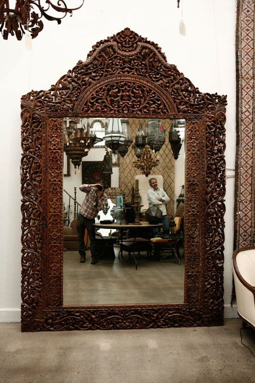 9' 8 Giant Hand Carved Anglo Indian Mirror | From a unique collection of antique and modern floor mirrors and full-length mirrors at http://www.1stdibs.com/furniture/mirrors/floor-mirrors-full-length-mirrors/