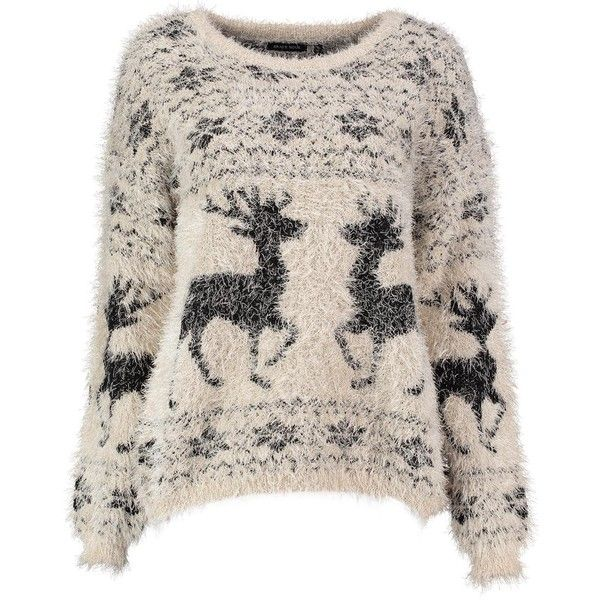 Faith Fluffy Intarsia Reindeer Christmas Jumper ($27) ❤ liked on Polyvore featuring tops, sweaters, christmas, pink top, intarsia sweater, jumper top, pink jumper and christmas sweater