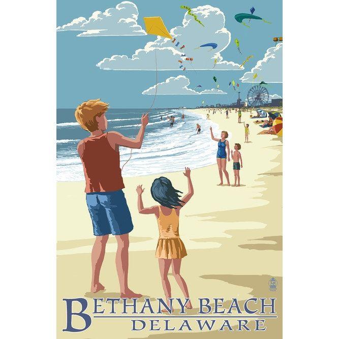 Bethany Beach, DE - Kite Flyers - LP Artwork (100% Cotton Towel Absorbent), Blue wash