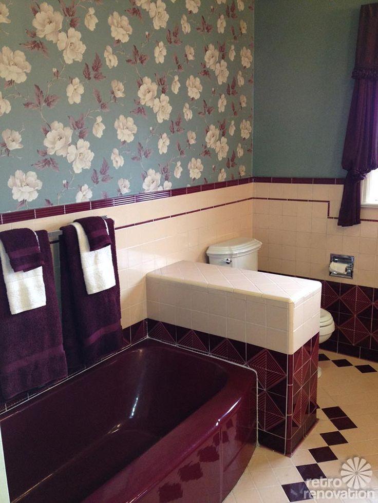 25 best ideas about pink bathroom vintage on pinterest for Maroon bathroom ideas
