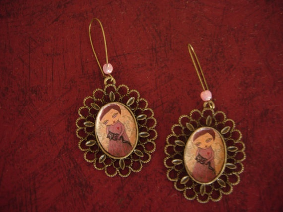 The Black Cat Lover art illustrated earrings with an by eltsamp, $30.00
