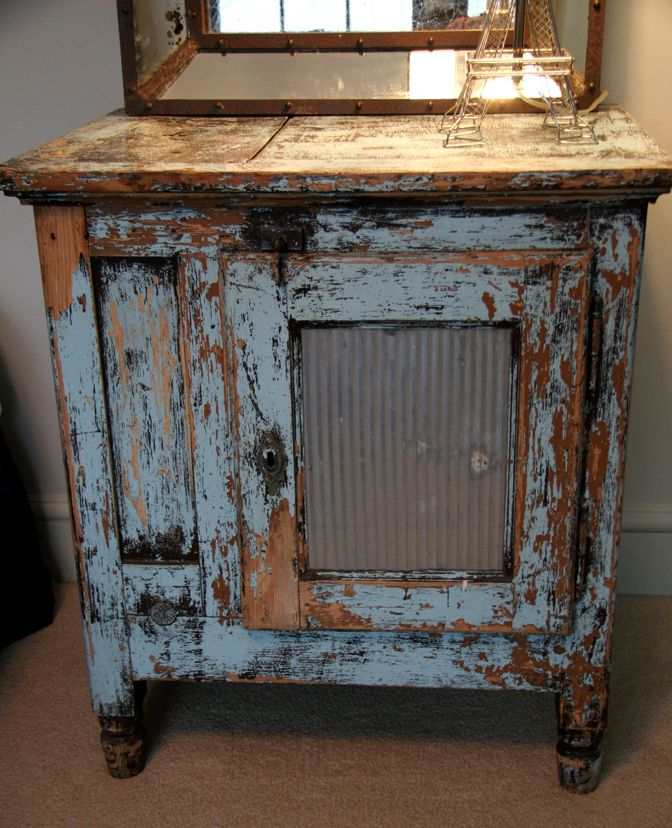 Antique French Ice Chest with Old Blue Paint