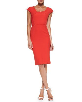Hirta Cap-Sleeve Dress with Folded Neckline, Poppy Red by Roland Mouret at Neiman Marcus.