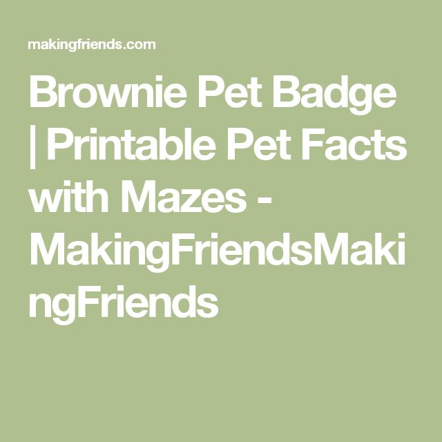 Brownie Pet Badge | Printable Pet Facts with Mazes - MakingFriendsMakingFriends
