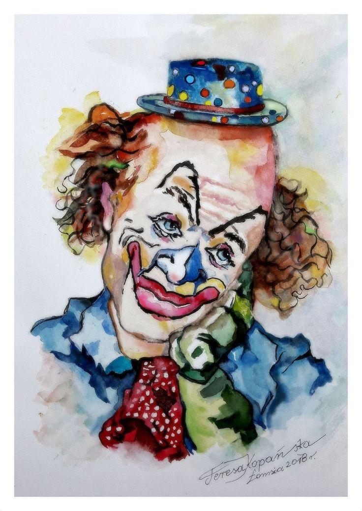 Zamyślony klaun - malowanie akwarelą