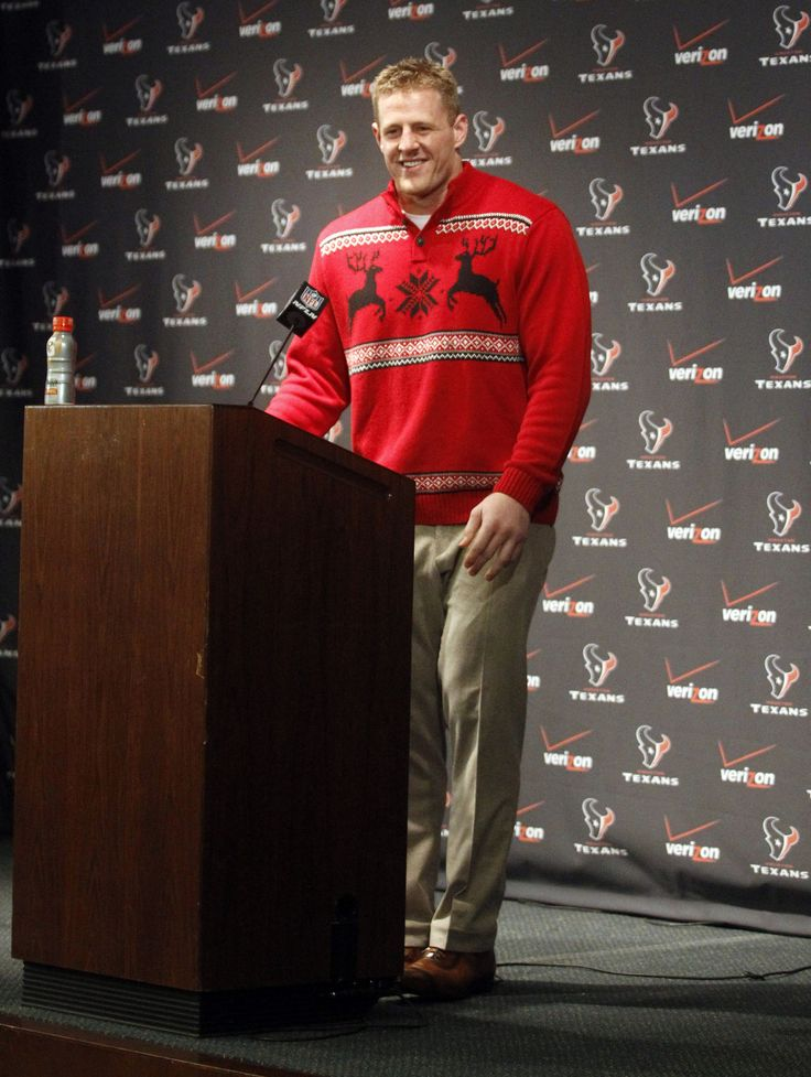 Houston Texans defensive end, J.J. Watt, shows us how to rock a festive Christmas sweater during holidays season.