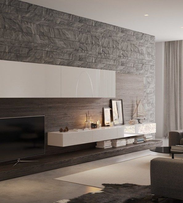 Interior Design Drawings - Stone wall, backlights, digital surround, and poly boxed shelving.  Perfect for a DIY-er or small general contractor.  - Sp8ce.Design