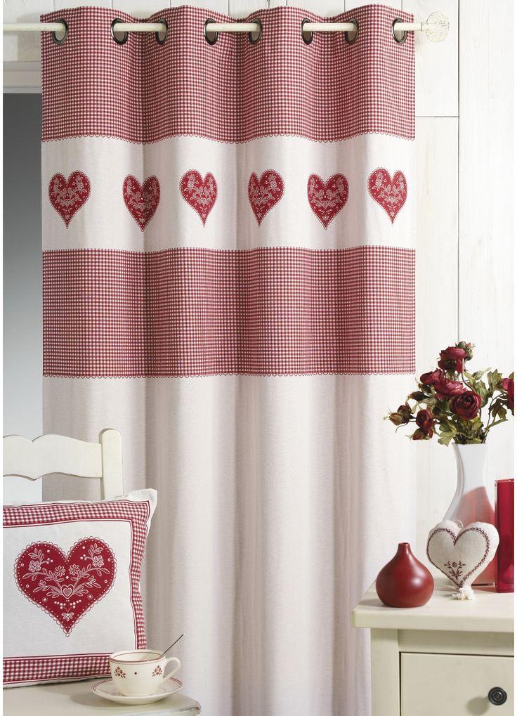 Cortina Jacquard motivo corazón (Rojo) - Cortina Casa : venta en línea de cortinas