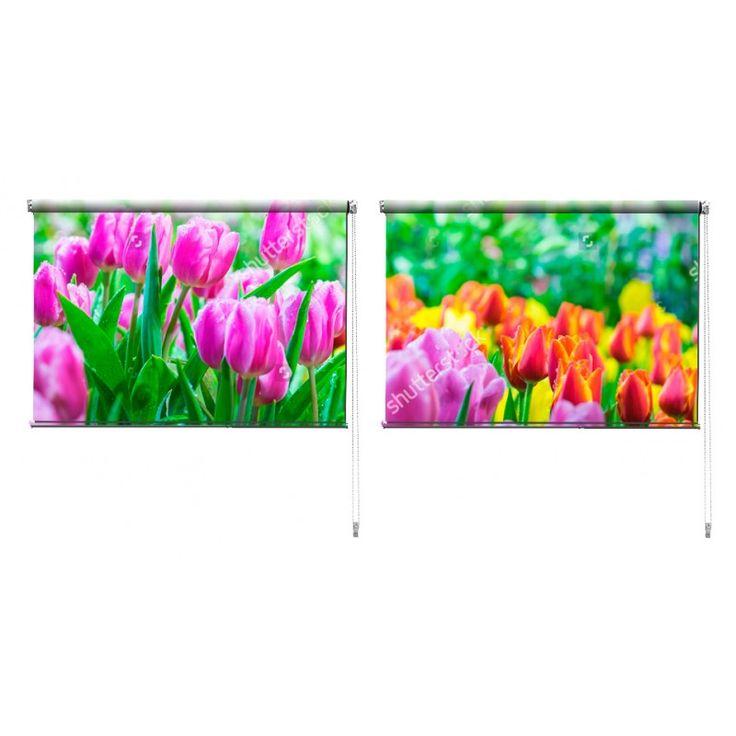 Duo rolgordijn Tulpentuin | De duo rolgordijnen van YouPri zijn iets heel bijzonders! Maak keuze uit een verduisterend of een lichtdoorlatend rolgordijn. Inclusief ophangmechanisme voor wand of plafond! #rolgordijn #gordijn #lichtdoorlatend #verduisterend #goedkoop #voordelig #polyester #duo #twee #tulp #tulpen #tuin #paars #roze #oranje #groen #bloem #bloemen