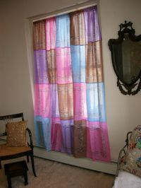 Bandana curtain--love these colors together!