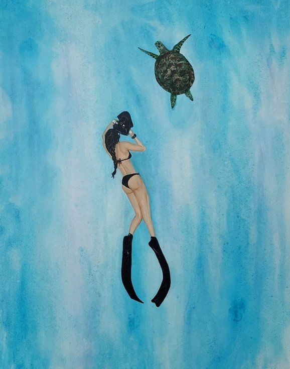 New Friends Free Diving With Turtle Painting Diver Art Art