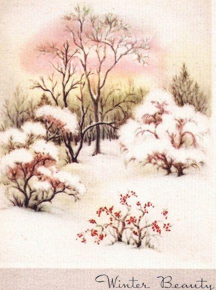 Winter Scene Snow Trees Vintage Christmas Card Christmas