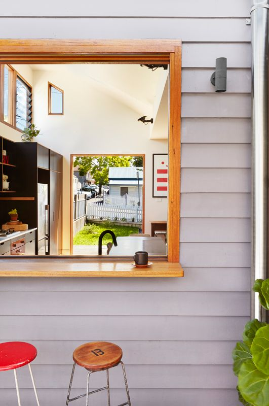 I like the bar on the outside of the window here. Would be happy with a weatherboard exterior too.