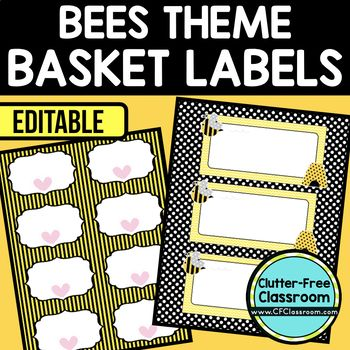BEES THEME Editable Labels by CLUTTER FREE CLASSROOM - These organizational labels have many uses in the classroom or home school. They can be classroom library labels, name tags for cubbies or desks, supply labels, used for organizing centers, and much more. Grab these cute printables today for your preschool, Kindergarten, 1st, 2nd, 3rd, 4th, 5th, or 6th grade classroom or home school. And make sure to check out the links for some FREE downloads to help make your space look great!