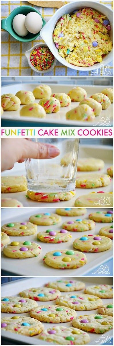 Ingredients  1 Box of White Cake Mix  1/3 Cup Oil  2 Eggs  2 Tbs Sprinkles  1 Cup M&Ms