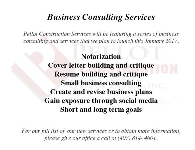 As the new year approaches, Pellot Construction Services, INC has - consulting cover letter