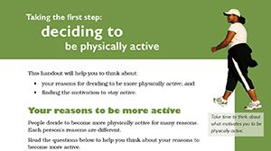PHYSICAL ACTIVITY COUNSELLING TOOLKIT.  handouts for practitioners to use when counselling clients on starting and maintaining a physically active lifestyle. In several languages.