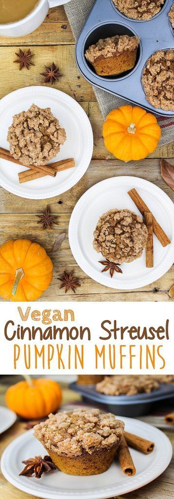 These Vegan Pumpkin Muffins with Cinnamon Streusel are so moist & fluffy, that you'd never guess they were gluten-free.
