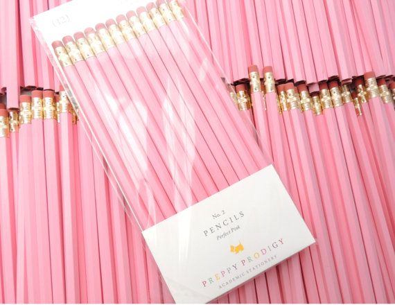 PERFECT PINK Jot down notes and doodle away with these chic Preppy Prodigy pencils. A revival of the old-school writing utensil with modern colors