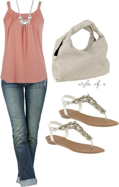 With a little short-to three-quarters length cardigan, this would be super cute! Love it!! Not crazy about the accessories.