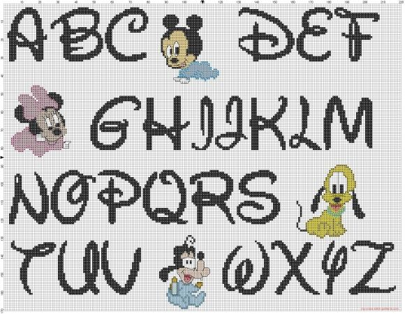Cross stitch Disney baby alphabet font Disney and baby characters pattern (click to view)