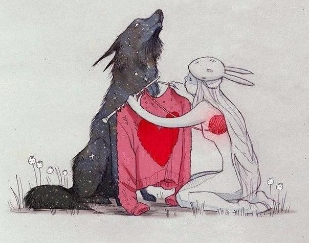 fear, girl, heart, knitting, mask, rabbit, red, soul, suffering, sweater, wolf