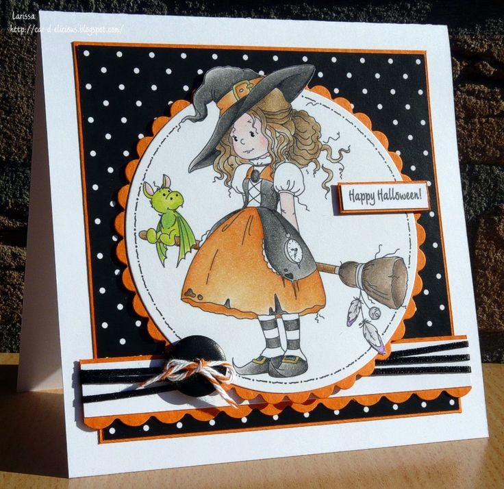 Hallo! Vandaag laat ik alweer een halloween kaartje zien. Sorry ik kan er niks aan doen...ik vind ze gewoon erg leuk om te maken! :) Dez...