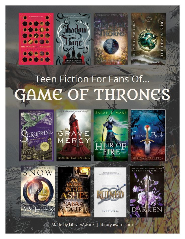 """Help your teens find great reads. Our NoveList Book Squad made this flyer for our LibraryAware users.  You can easily swap out books just search for """"Game of Thrones"""" in the Books Flyer section."""