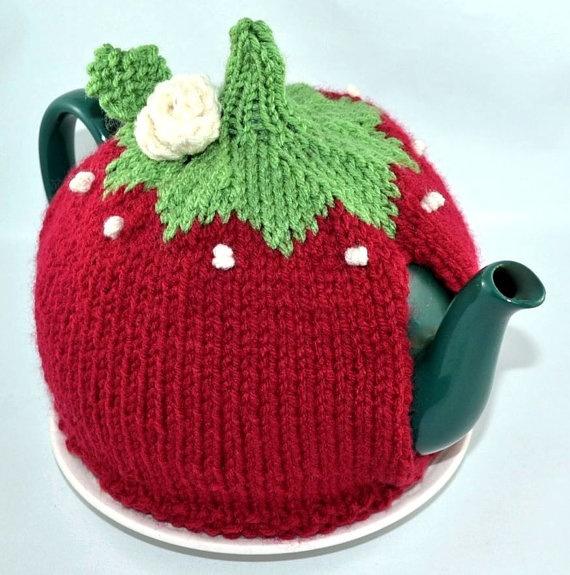 Red Knit Tea Cozy OOAK Tea Cozy by 2bloomsdesignstudio on Etsy,