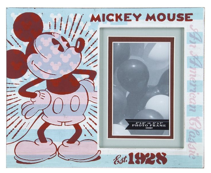 Disney Parks Mickey Mouse Est. 1928 Wood Photo Picture Frame New