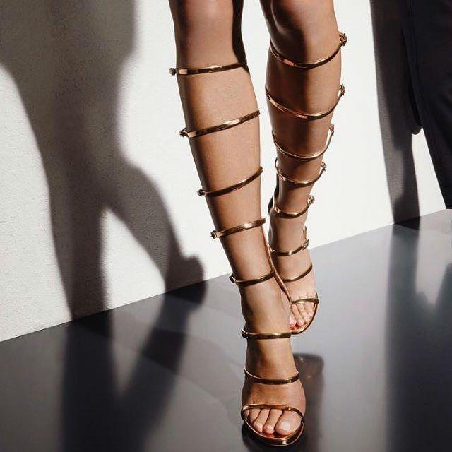 Gold Gladiator Heels . . . . . . . . #style #fashiongram #luxury #wedges #pumps…