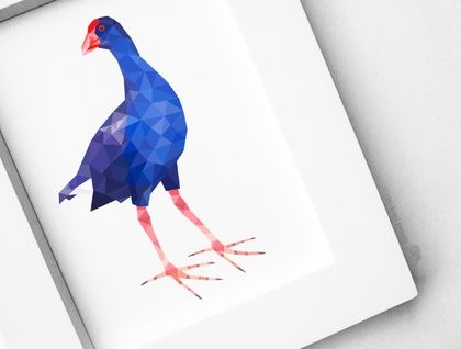 New Zealand Pukeko, Geometric print, Original illustration, Animal print, Minimal art, Nursery wall art