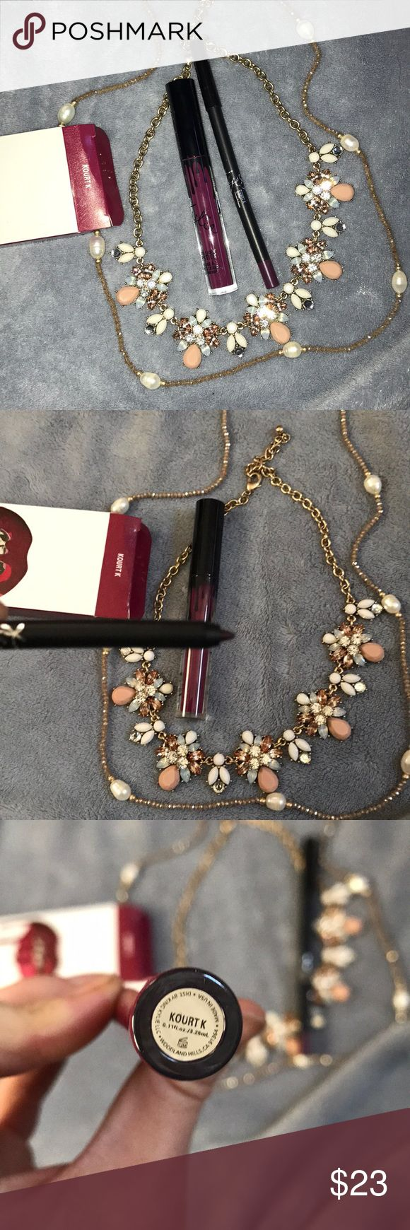 Authentic Kourt K lip kit New and unused everything must go all offers welcome , includes box, lip liner and liquid lip stick. Help me clear my closet out!! Closing on January 31st! Kylie Cosmetics Makeup