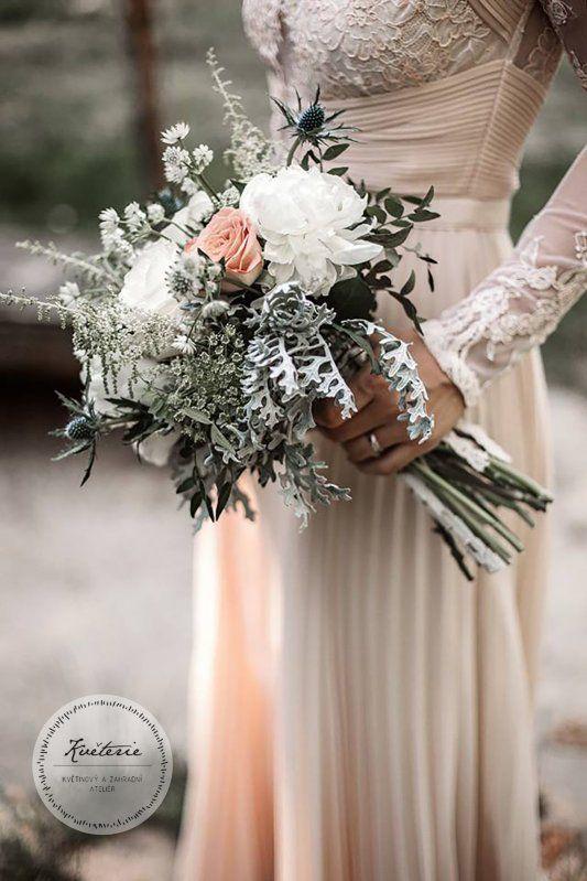 wedding  bouquet cream, peonies, astilbe, eryngium, senecio and roses