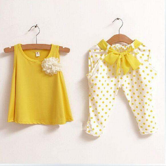 Stocks claras al por menor ropa de niña trajes de niños grupo de moda de verano t shirt + pants chica clohting envío gratis