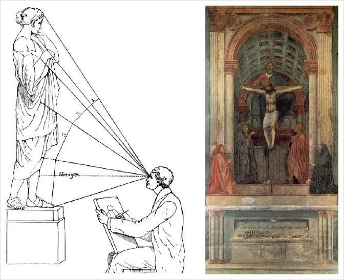 In Renaissance(14C) , Brunelleschi make the Perspective. By this technic, it is much more easier to represent object similar with real in canavas. I think this is the first step of trying to express 3D object in 2D.