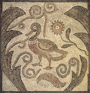 Egyptian, Classical, Ancient Near Eastern Art: Mosaic of Duck Facing Left in Vines
