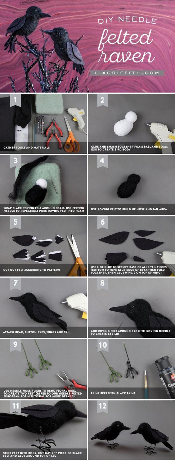 Needle Felted Raven - www.liagriffith.com #diyhalloween #diyinspiration #diyidea #diyideas #diyproject #diyprojects #needlefelting #felt #feltcraft #feltcrafter #feltcrafting #feltcute #madewithlia