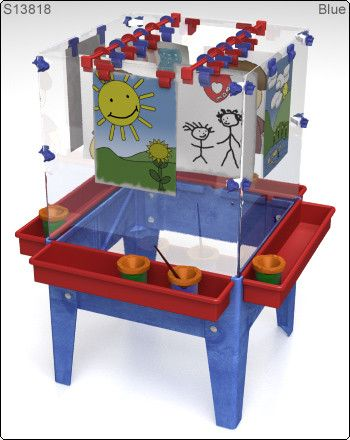 Toddler 4 Station Space Saver Easel from Honor Roll Childcare Supply. Daycare Furniture and Preschool Supplies.