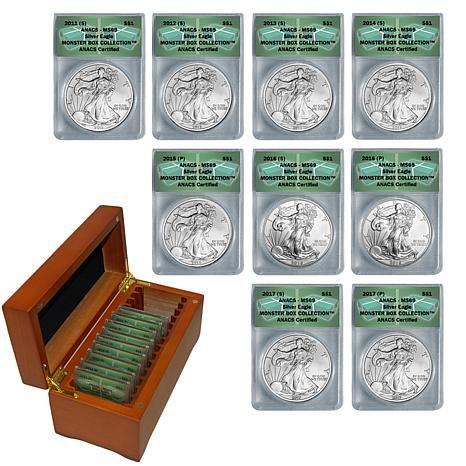 2011 2017 Ms69 Anacs Supplemental Silver Eagle 9 Coin Set 8489481 Hsn Coins Coin Set Gold Coin Price