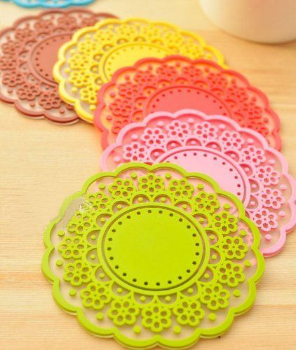 ONOR-Tech Set of 6 Lovely Cute Sweet Semitransparent Lace Cup Mat Silicone Rubber Coaster for Wine, Glass, Tea * Continue to the product at the image link.