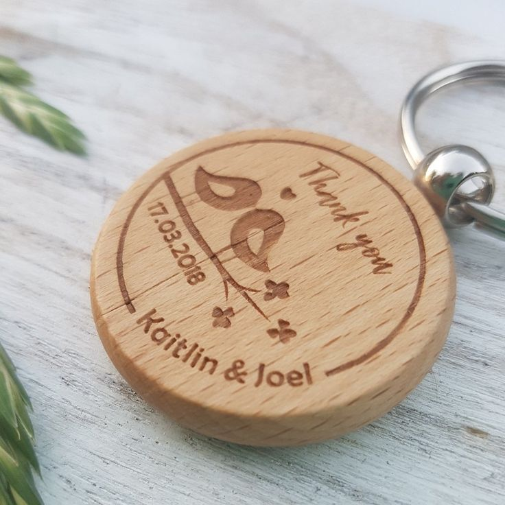 Wooden Wedding Favour Key Rings